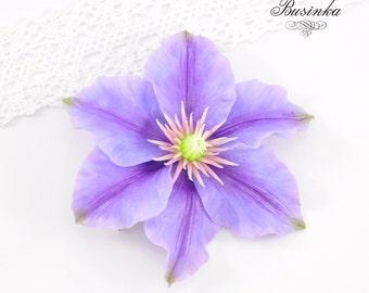 Purple Clematis flower Brooch & Hair Clip Clematis jewelery Flower brooch Purple clematis Clematis Brooch Clematis Hair Clip Purple gift