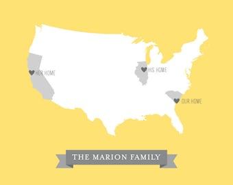 Custom Family US Map Art Print / Personalized Wedding Gift / United States USA Map Chart / 8x10 Giclee Wall Art Digital Print