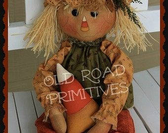 Primitive Scarecrow Pattern Candy Corn Scarecrow Raggedy Halloween Pattern