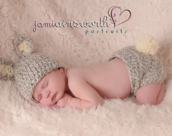 Baby Bunny Hat and Diaper Cover set,  Newborn Bunny, Grey Bunny Hat and Diaper Cover Set, Baby Easter Set,  PHOTO PROP
