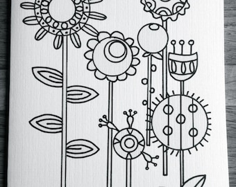 Coloring cards for kids-Flowers