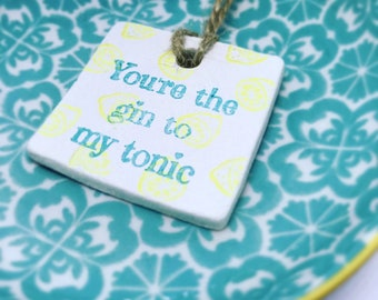 Gin Gift Tag, gin gift, gin lover gift, g&t, gin and lemon, wedding favour, wholesale, gin and tonic, gin gift wrap, gift tag, quirky gift