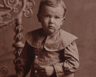 Adorable Antique Toddler Cabinet Card Photograph with Wicker Furniture Prop, 1890-1900, Vintage Photography