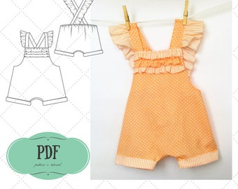 Baby Playsuit Pattern, Baby Romper pattern, Sunsuit for girl pattern, Baby pants pattern, Jumpsuit patern