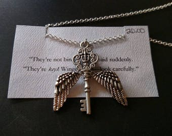 Winged keys necklace