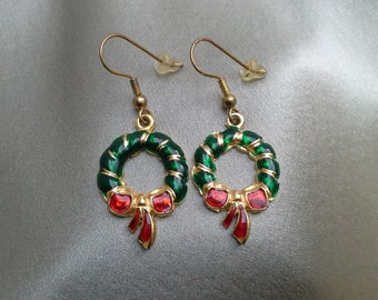 Christmas Wreath Dangle Earrings of Red and Green Enamel on Gold Tone Metal