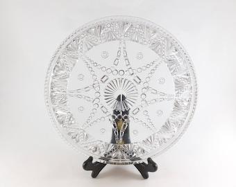 Portland Glass Water Tray Serving Plate Platter Festoon Pattern Early American Pressed Glass EAPG circa 1890s