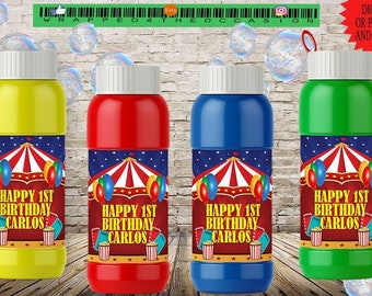 Personalized Carnival/Circus Style Bubble Labels