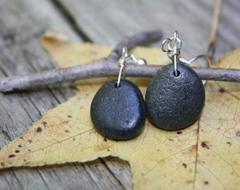 Beach pebble jewelry, Lake Superior earrings, beach stone earrings, river rock jewelry,  Zen, Yoga, beach pebble earrings, stone earrings