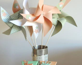 Set of 10 pinwheels wind decor star peach, mint green and white 15cm