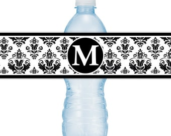 Damask Water Bottle Labels, CUSTOM Monogram Water Bottle Labels - Printable Water Bottle Labels, YOU print, you cut, DIY water bottle labels