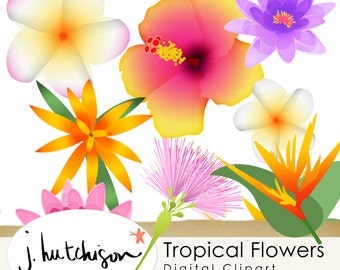 Commercial Use Instant Download  Tropical Flowers Clip art  + PSD file - PNG Clipart graphics