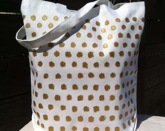 SALE - Canvas tote market tote knitting bag hand painted free form gold polka dot