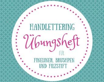 Handlettering Übungsheft - 100 Seiten - für Fineliner, Brushpen & Filzstift