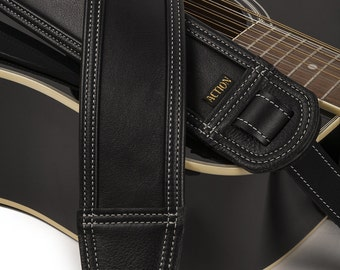 Soft Black Cowhide and Cabretta Leather Guitar Strap with Bone Stitching - Blackheart 100 BoSt