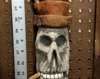 Cottonwood bark Skull! hand carved, painted and ready to hang. Approx.  14 1/2 in. long by 4 in. wide