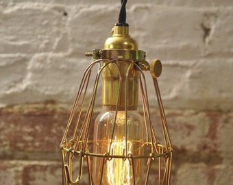 Brass On/Off Switch Bulb Guard Lamp Light Cage Pendant Hanging Vintage Cage