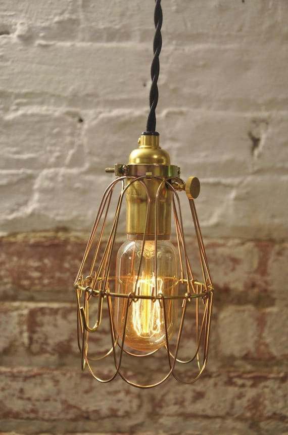 Brass on off switch bulb guard lamp light cage pendant hanging