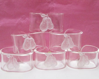 Lucite Napkin Rings 6 Vintage Reverse Carved Fruits Clear Acrylic Pear or Berry Napkin Holder Set Lot