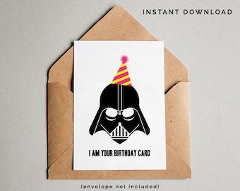 Star Wars Birthday Card, Darth Vader Birthday Card, Star Wars Card, Star Wars Printables, Funny Birthday Card, Instant Download