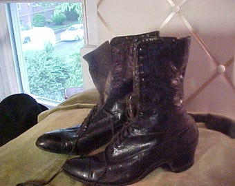 Antique High Top Black Leather  Shoes, Size 38,  2267