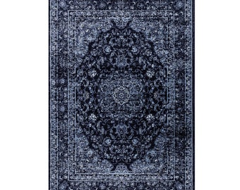 Area Rugs GRAPHITE NAVY BLUE Vintage  Contemporary Carpet Rugs 2x3 4x6 5x7 7x10 8x11