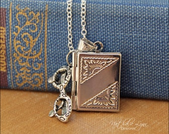 Book Necklace, Book Locket Necklace, Book Jewelry, Librarian Jewelry,  Gift For Writer, Gift for Author, Sterling Silver Necklace
