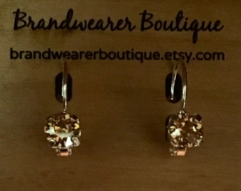 6mm Golden Shadow Swarovski Crystal Earrings - Swarovski Crystal Earrings - Golden Crystal Earrings - Leverback Earrings - (Item # 9349   )