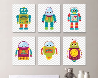 Baby Boy Nursery Print Art - Robot Nursery Decor - Robot Nursery - Robot Nursery Art - Robot Bedroom Art - Robot Bath Bathroom (NS-665)