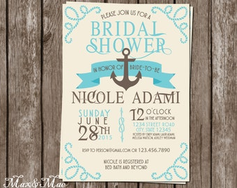 Nautical Bridal Shower Invitation, Cruise Themed Invitation, Anchor Invite, Wedding Shower, Message In A Bottle Tag, Digital, Printable
