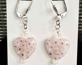 Heart Earrings in White Millefiori Glass, Red Dots, Leverback Wires
