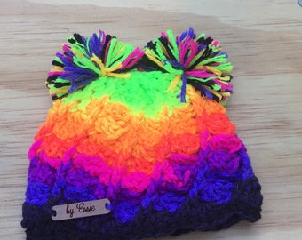 Neon stripes infant hat with double pompoms