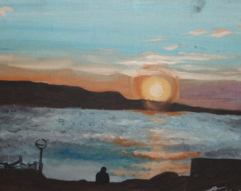 Seascape sunset oil painting signed