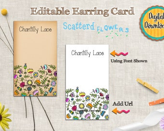 Earring Card Digital Download - Necklace Card - Printable Jewelry Cards - Editable Digital Instant Download - Scattered Flowers Design