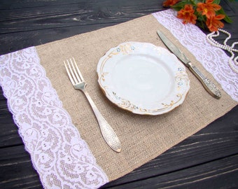 Burlap and lace Placemat Wedding Table Setting Rustic Table Topper Burlap placemat Hessian Table Runner Bohemian & Table placemats Burlap and white lace Placemat Wedding Table