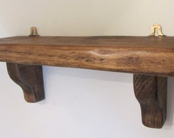 Chunky rustic reclaimed plank wood shelf , farmhouse style kitchen / bathroom shelf shabby chic shelf