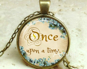 Once upon a time art pendant, fairy tales necklace, once upon a time jewelry, once upon a time necklace, fairy tale pendant, Pendant#QT127BR