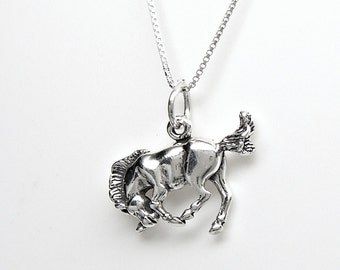 Horse Bucking Bronco Sterling Silver Charm Pendant Customize no. 2253