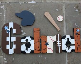 Sport garçons personnalisé sur le thème nom signe ensemble - mur de chambre d'enfant lettres nom signe - lettres murale en bois - Sports signe - Sports signe de chambre d'enfant