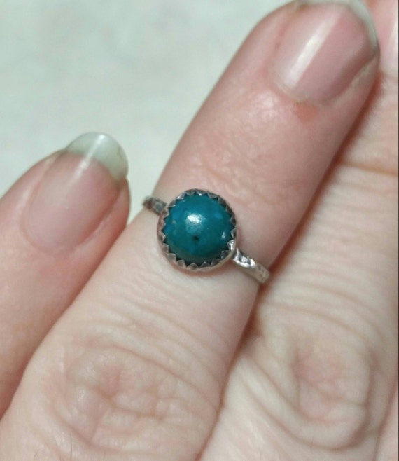 Tiny Finger Ring | Stone Knuckle Ring | Sterling Silver Ring Sz 4.5 | Rustic Blue Stone Ring | Chrysocolla Ring | Simple Green Stone Ring