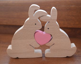 Easter bunny toy easter kids gifts rabbits family easter gift wooden rabbits family easter bunny bunny toy love gift negle Image collections
