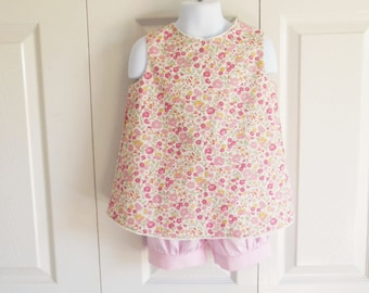 "Vintage look open back ""Molly"" pinafore Top ONLY - vintage pattern top with lacy trim and pearl button - choice of fabrics"