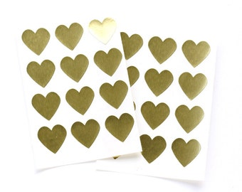 "48 Gold Foil Heart Stickers - .75"" high"