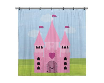 Shower Curtain for Kids Bathroom from Hand Painted Images - Pretty Pink Heart Castle - Children's Bath Decor