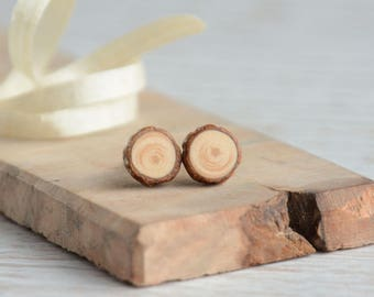 Wooden earrings with sterling silver posts, studs for nature lover, natural pine wood jewelry, eco woodland rustic hand made jewellery