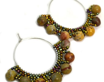 Boho Hoop Earrings Rustic Style Gypsy Earrings Bohemian Beaded Statement Earthy Jewelry Festival Hoops for Women Hippie Brown Tan Ombre