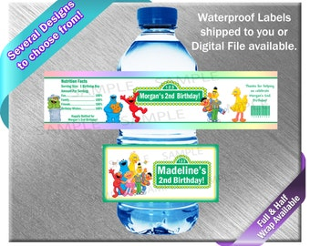 Sesame Street Water Bottle Labels - PRINTED OR FILE - Birthday Party Supplies Favors