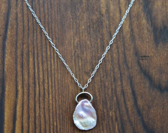 Unique Pink Keshi Pearl and Sterling Silver Necklace