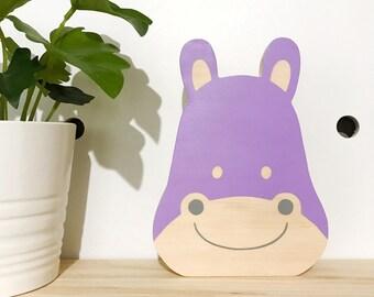 Hippo wooden decor