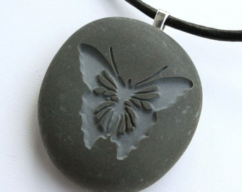 BUTTERFLY Necklace - Double sided engraved beach pebble jewelry